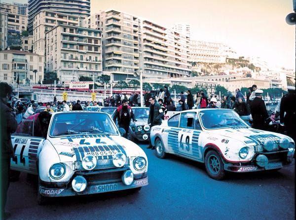 Rallye Monte Carlo 1977: Das Skoda-Werksteam belegte mit dem 130 RS den 1. und 2. Platz in der Klasse bis 1.300 Kubikzentimeter