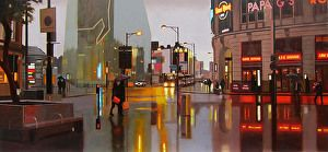 Corporation Street, Manchester 42 x 20 by Michael John Ashcroft in the FASO Daily Art Show