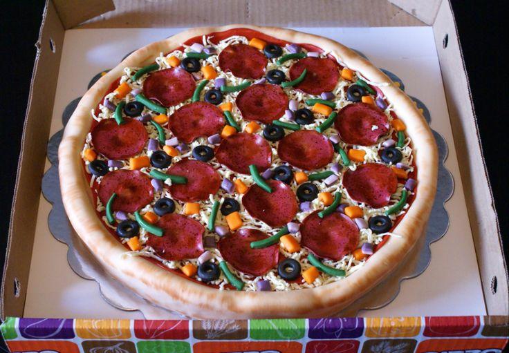 Pizza cake! made of rice krispie treats & fondant!