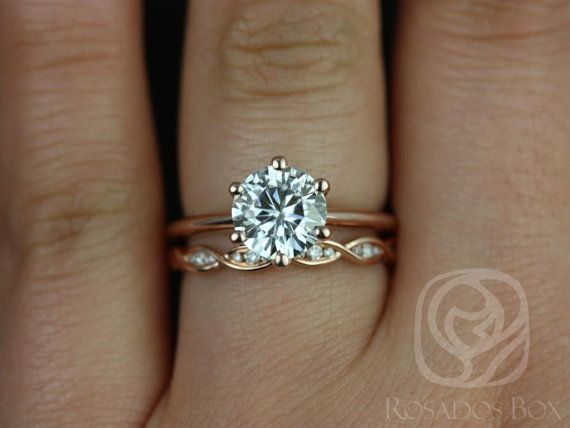 Skinny Webster 7.50mm & Ember 14kt Rose Gold FB Moissanite Six-Prong Webbed Wedding Set(Other metals and stone options available)
