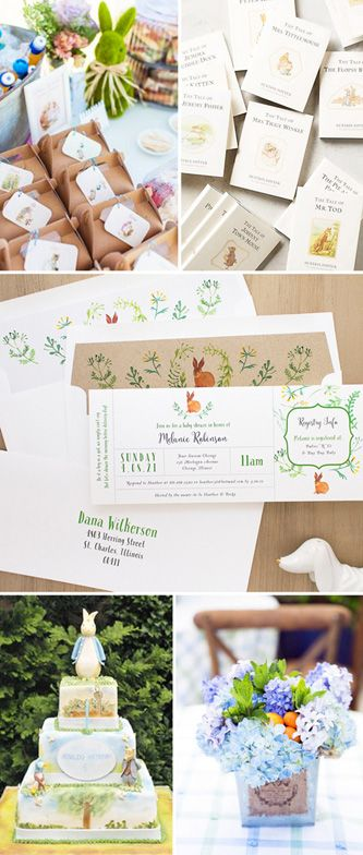 Peter Rabbit Baby Shower Invitations with Matching Envelope Liners