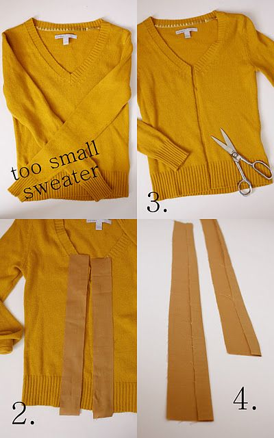 Turn your too tight too short sweater into a cardigan. LOVE this idea