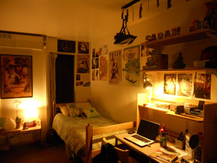 Awesome Bedroom Design Ideas for Decorating Room Wall Cool College Dorm with Small White Bed and Wooden Table Brown Colored also Carpeted is Floors