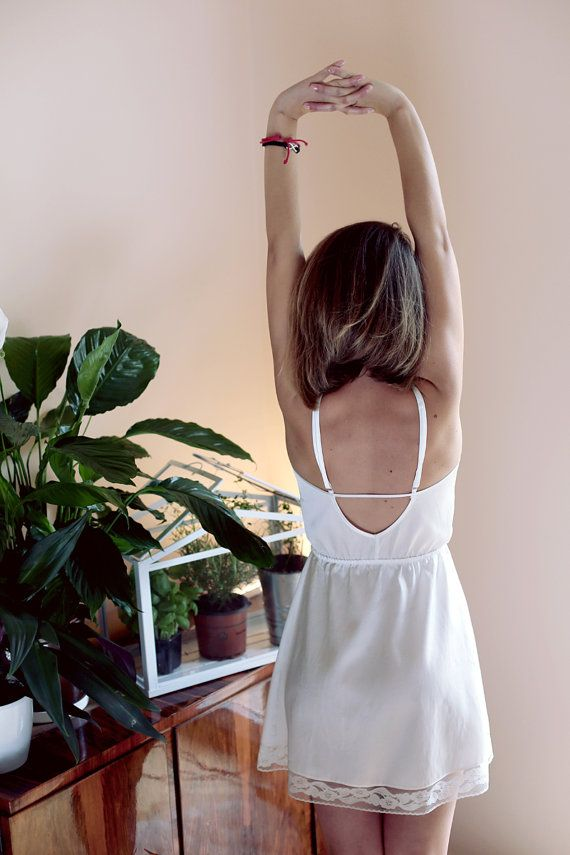 Romantic slip dress in cream white shiny cotton with lace, by Lunaby // perfect as going out dress or bridal nightwear