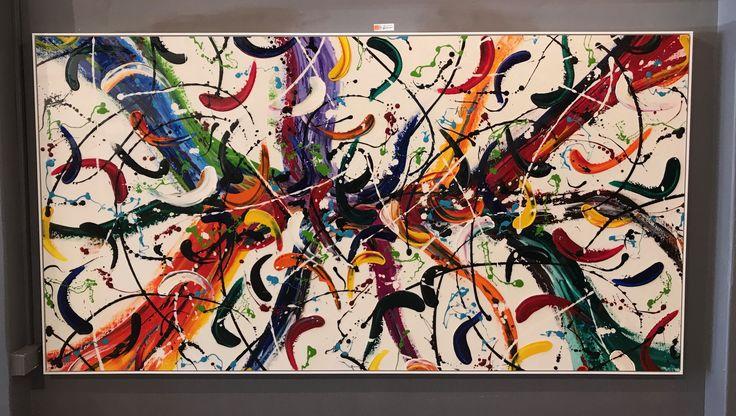 Extra large abstract artwork resin on canvas by artist Glenn Farquhar 240cm x 120cm