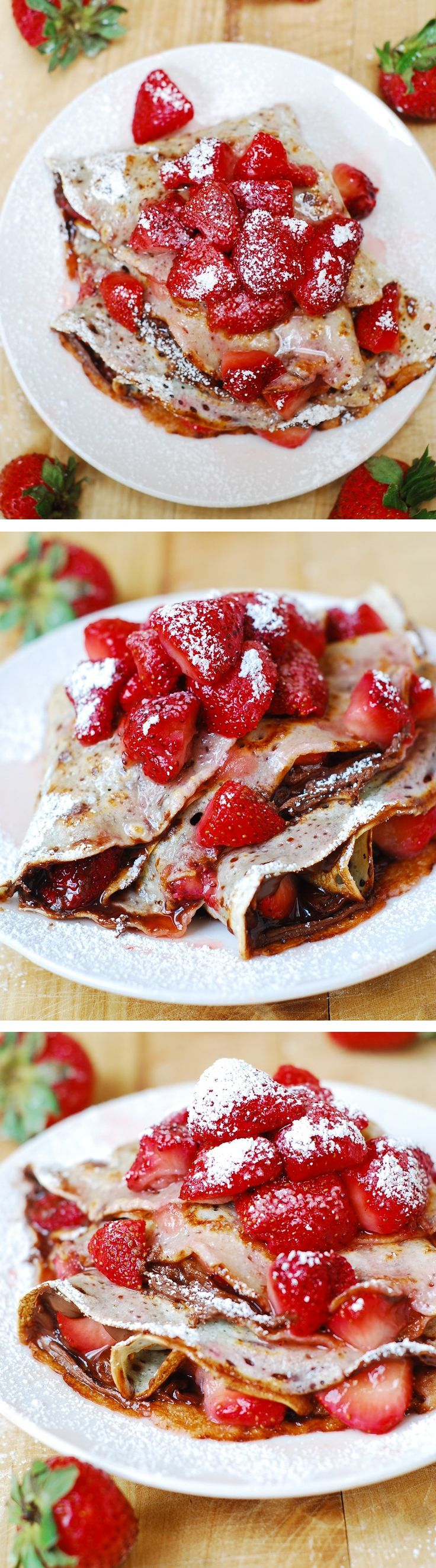 Strawberry & Nutella crepes sprinkled with powdered sugar! Great Summer time brunch or dessert! #chocolate #berry_crepes #Nutella_recipes