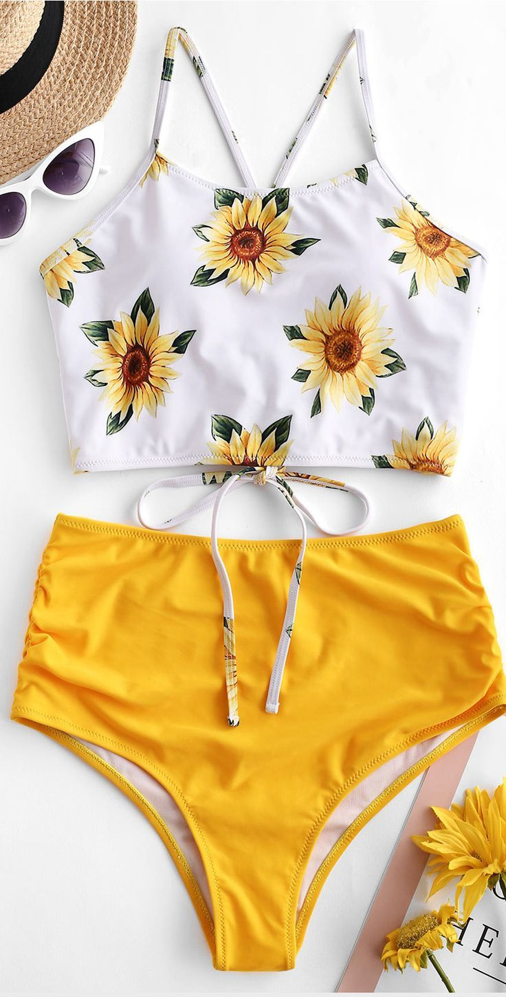 Set Tankini girasole increspato incrociato