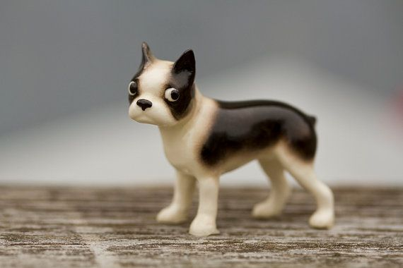 Hagen Renaker Miniature Boston Terrier Ceramic Figurine