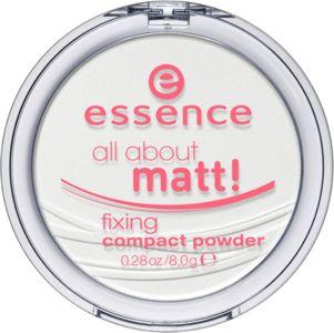 all about matt! fixing compact powder - essence cosmetics als je een compacte poeder prefereert, is deze fijne poeder de juiste voor jou! hij kan na je foundation worden aangebracht om je huid te matteren en je make-up te fixeren. voor een matte, natuurlijke en prachtige uitstraling. perfect wanneer je erop uit gaat met je vriendinnen!