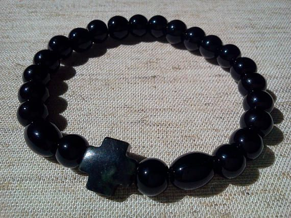 "6 1/4"" wrist natural Onyx Agate gemstone and Jasper Cross Orthodox christian chotki komboskini prayer bracelet 8mm beads blessed"