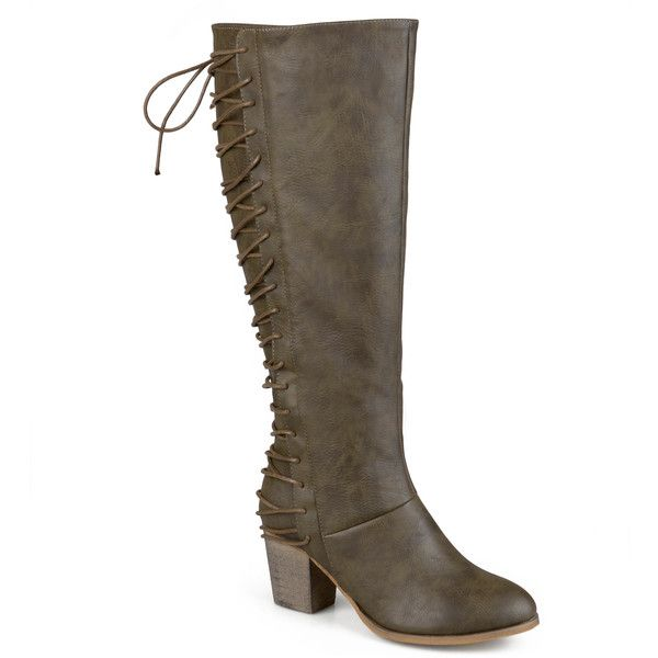 Journee Collection Amara Lace-Back Riding Boots - Wide Calf ($85) ❤ liked on Polyvore featuring shoes, boots, journee collection boots, lace up boots, wide calf equestrian boots, wide calf riding boots and lace up high heel boots
