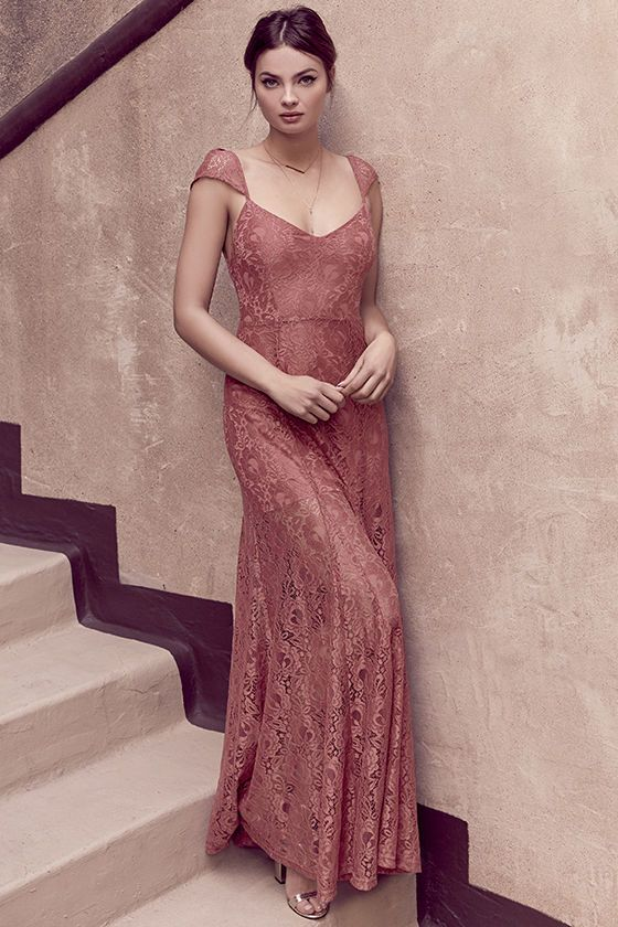Lulus Exclusive! Sweet dreams are made of glamorous dresses like the Evening Dreaming Rusty Rose Lace Maxi Dress! Sheer, adjustable lace straps taper atop a lightly padded triangle bodice with more lace, darting, and fitted waist. Maxi skirt falls from a low back to flaring godets. Hidden back zipper with clasp.