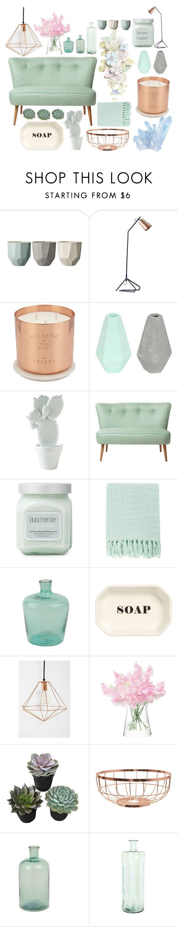 """Pastel home. #mint #copper #glassware"" by lilypretty ❤️ liked on Polyvore featuring interior, interiors, interior design, home, home decor, interior decorating, Bloomingville, Tom Dixon, Korridor and Laura Mercier"