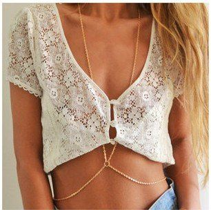 Fashion body chain necklace gold plated body chain jewelry for women girls…