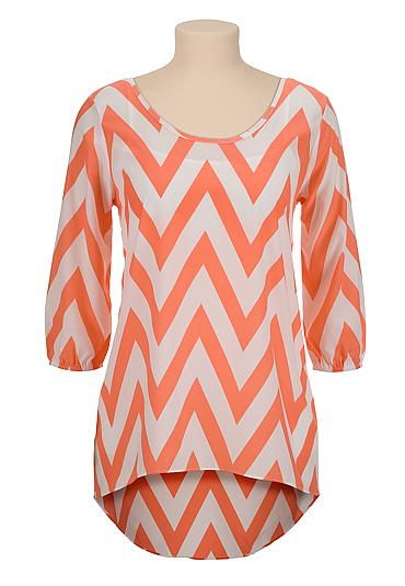 High-low chiffon chevron print tunic top (original price, $29) available at #Maurices