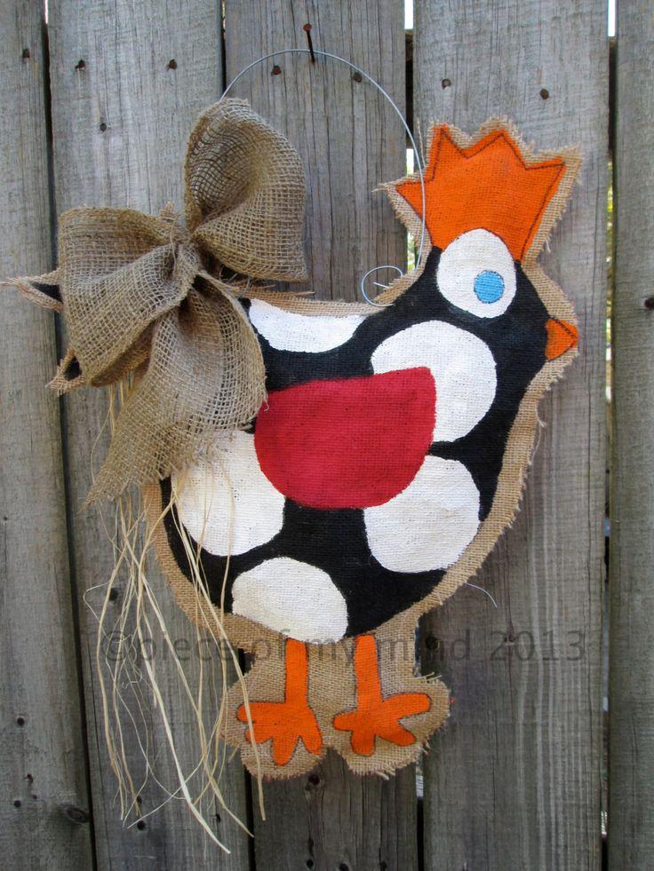 Chicken Burlap Door Hanger.
