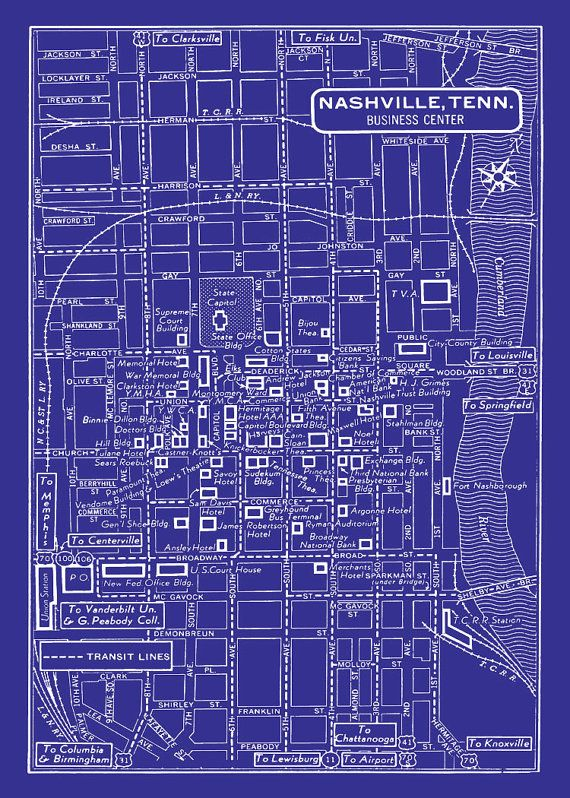 Nashville City Map 1949 Vintage Map of Nashville Blueprint Map Print Poster