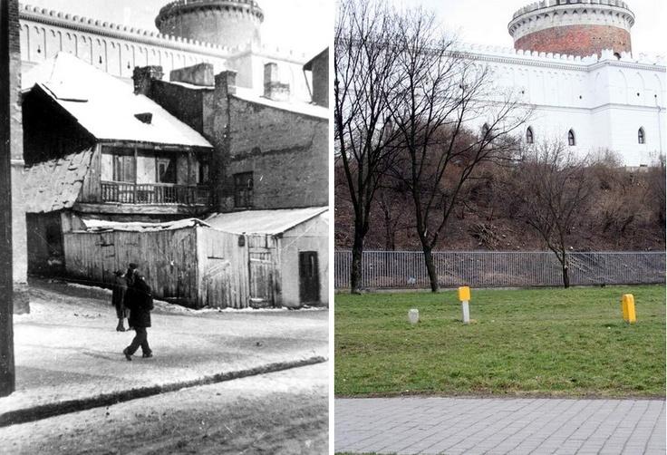 1933&2008 r. Ulica Krawiecka. W tle Zamek.