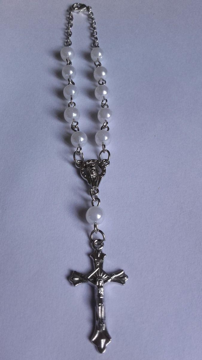 3cf589ac6bc souvenir bautismo comunión denario pulsera rosario x 10