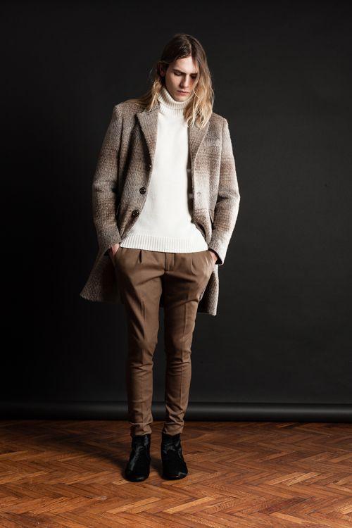 MAISON LVCHINO FW 14/15 Microfur Tartan Coat, Milk Turtleneck Sweater, Camel Pants & Black Pony Boots