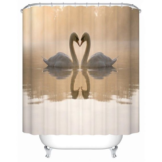 Swan Shower Curtain Swan In The Lake Shower Curtains Shower Curtain Bathroom Shower Curtains Bathroom Curtains
