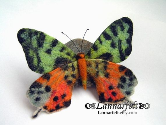Ready to ship-Hand Felted Brooch Butterfly by lannarfelt on Etsy
