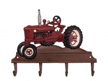 Garderobe Schlüsselleiste Gusseisen Bauer 4 Haken Traktor handbemalt Gusseisen rot