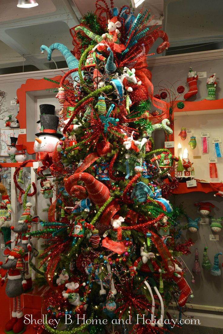 Decorated Christmas Tree RAZ Tinsel Tangle blue red and green fun Christmas  ornament collection. Find