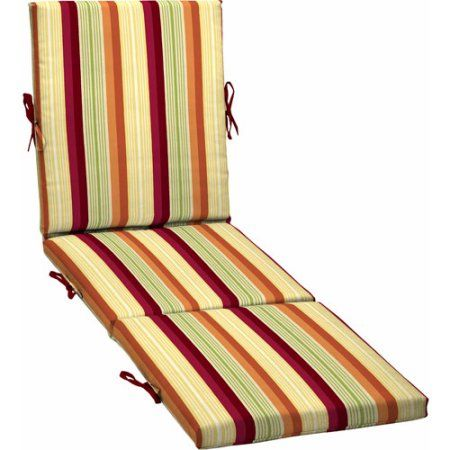 Better Homes and Gardens Outdoor Chaise Cushion, Sorbet Stripe, Red