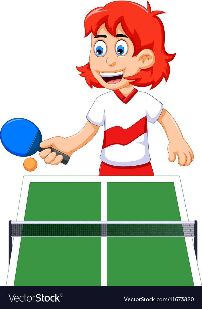 Funny Girl Cartoon Playing Table Tennis Vector Image On Vectorstock Girl Cartoon Table Tennis Girl Humor