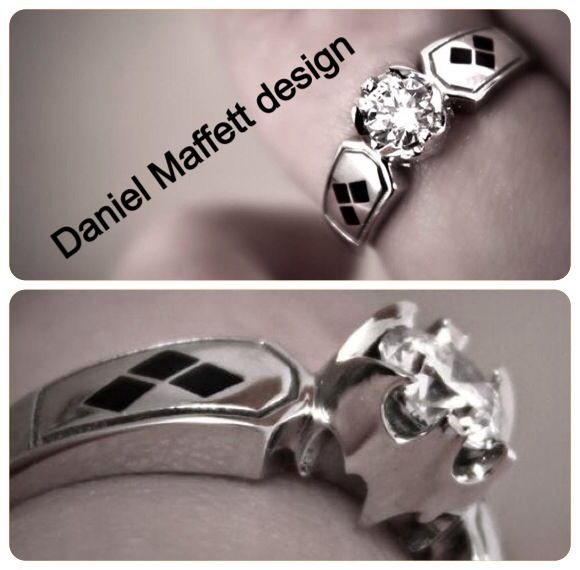 Elegant and perfect Batman, Harley Quinn engagement ring.