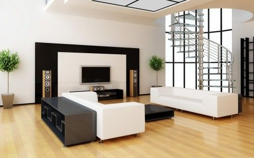 Interior Design, Amazing Designer Modern Stylish Black And White Living Room Interior Design With Cool Luxury Metal Brushed Polished Spiral Staircase Design ~ Attractive Stair Designs Interior with Unique Architecture Design