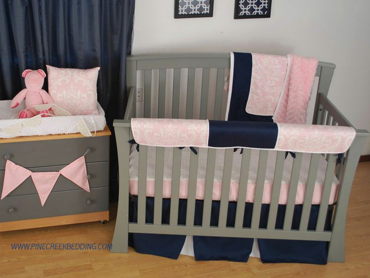 Navy And Light Pink Toddler Bedding With A Crib Rail Teething Guard Damask Fabric