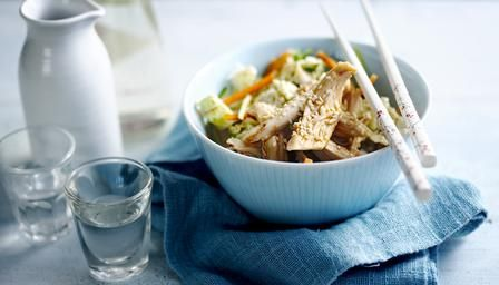 Spicy, crunchy oriental chicken salad: low in fat but full of flavour