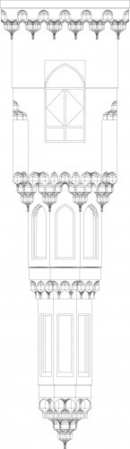 Elevation of the muqarnas projecting bay window for the International Medical Center in Jeddah, Saudi Arabia.
