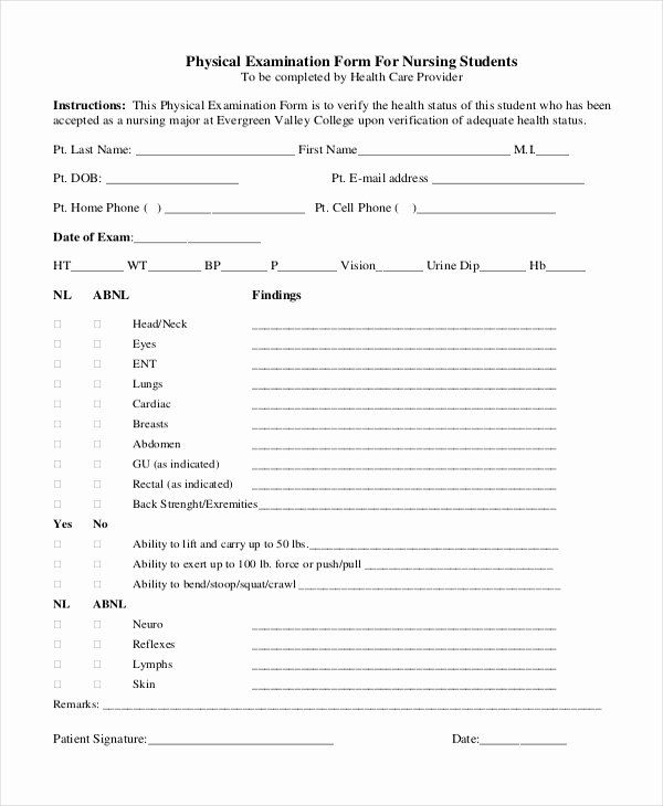 Physical Examination Forms Template In 2020 With Images