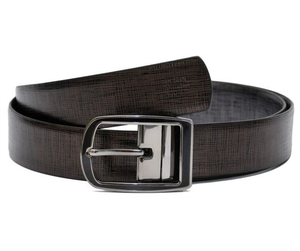 Genuine Leather Reversible Belt with Metallic Print Frame and Pin Style Curved Buckle in Grey Finish and hint of Black Enamel. It comes with a Turn Feature: just a pull and twist and the buckle is ready to be used with the reverse side of the Belt Strip. Belt Strip Width: 34 mm Buy Mens Leather Belts Online at India' First Exclusive Leather Store - BeltKart http://www.beltkart.com/leather-belts/hidemark-bali-metallic-reversible-belt