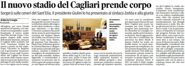 SCRIVOQUANDOVOGLIO: IL NUOVO STADIO DEL CAGLIARI PRENDE CORPO (03/12/2...