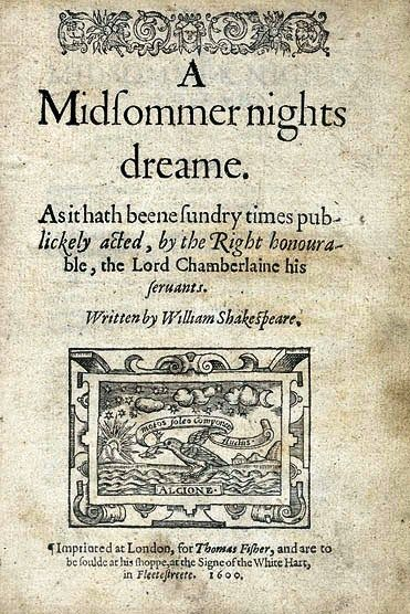 Title page of the first quarto, 1600, of Shakespeare's A Midsummer Night's Dream