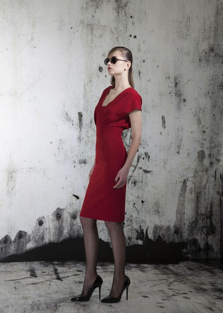 Red cocktail dress beautiful charming fashion designer dress