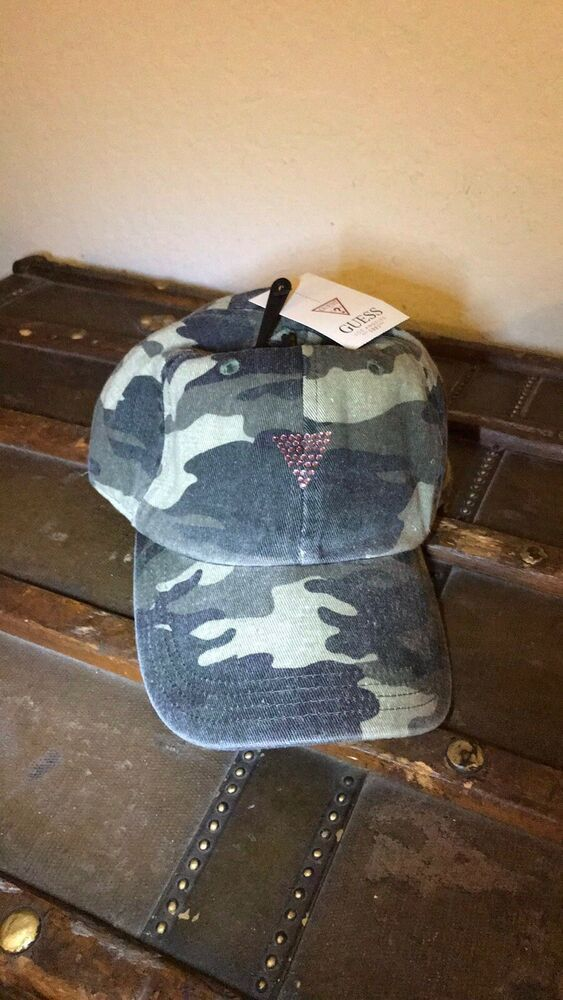 e0cc33d65 Details about GUESS Camo Baseball Hat Hats Pink Rhinestones NWT One ...