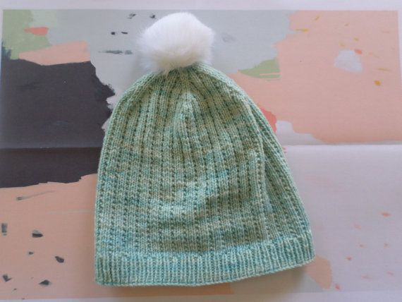 Luxury knitted mint beanie handmade from pure New Zealand merino wool,  with upcycled fur pompom