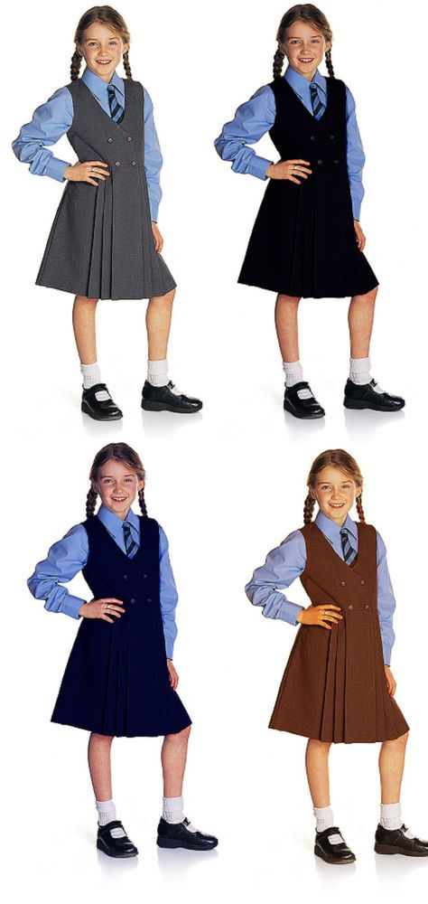 Girls School Pinafore Dress 4 Button Up Pleated School Uniform Dress Schoolwear