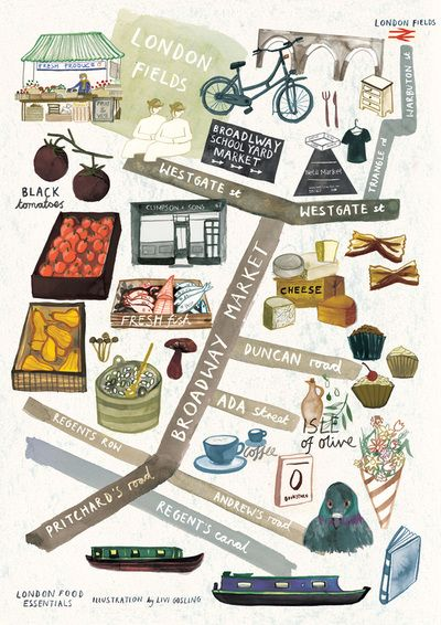 Livi Gosling - Map of East London's Broadway Market - for London Food Essentials