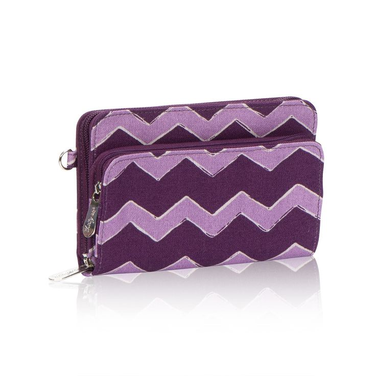 Perfect Cents Wallet in Plum Chevron for $28 - As cute as can be, this versatile wallet keeps you organized, too. With 10 card slots, there's plenty of room for credit cards, insurance cards, etc., and the ID window is perfect for your driver's license or other picture ID. Use the handy slot for bills, and keep all of your change in the front compartment, or it is also large enough to hold most cellphones. Includes a D-ring to attach a Wristlet Strap for added functionality. Via…