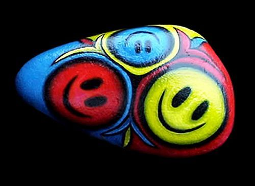 Happy Face Painted Stone