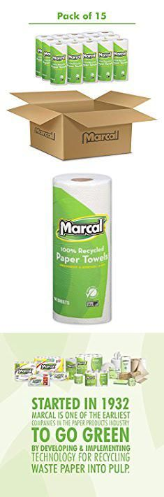 Marcal Paper Towels. Marcal #06709 100% Recycled, Green Seal Certified Paper Towel, 2-Ply, White, 60 sheets per roll, 15 individually wrapped rolls per case. #marcal #paper #towels #marcalpaper #papertowels