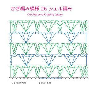 かぎ編み Crochet Japan : かぎ編み模様 26 シェル編み【かぎ針編み初心者さん】編み図・字幕解説 Shell Stitch/Crochet and Knitting Japan