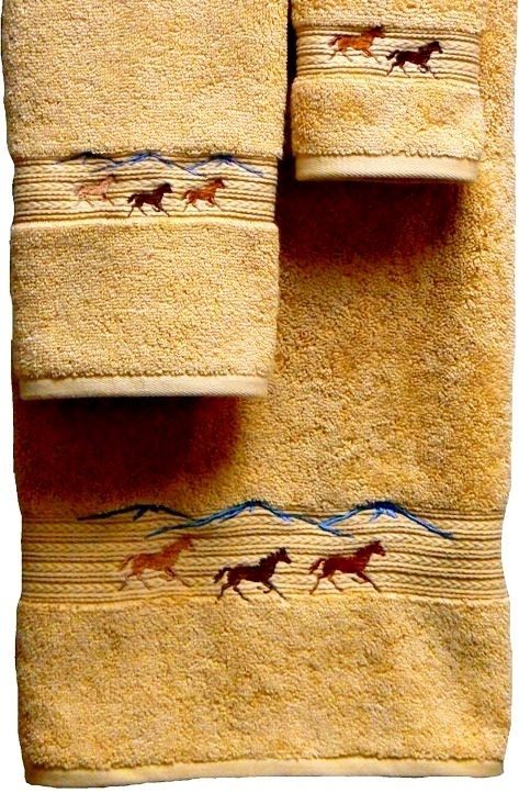 Running Horses Embroidered on Gold 3pc Bath Towel Set