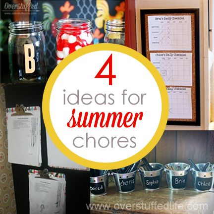 Looking for ways to keep your kids working over the summer? Four Ideas for Summer Chores that really work. #overstuffedlife